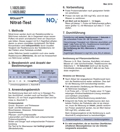 Merckoquant® Nitrat-Teststäbchen 100 Stück, Gebrauchsanleitung
